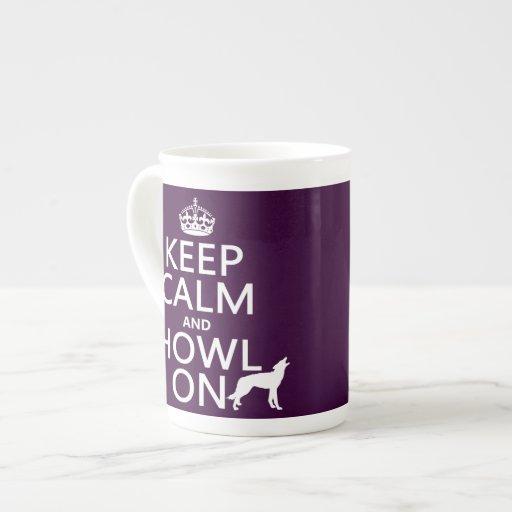 Guarde la calma y grite en (lobos) (cualquier taza de porcelana