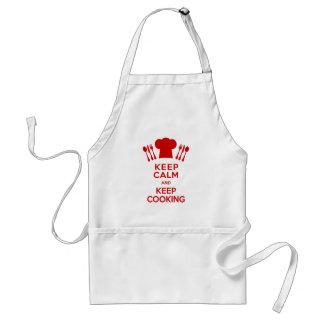 Guarde la calma y guarde el cocinar delantal