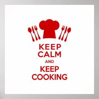 Guarde la calma y guarde el cocinar póster