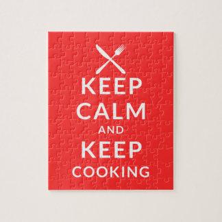 Guarde la calma y guarde el cocinar puzzle
