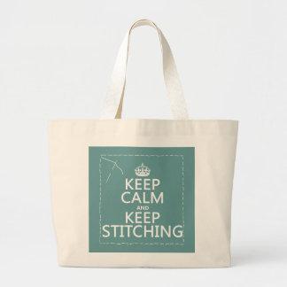 Guarde la calma y guarde el coser (todos los color bolsa tela grande