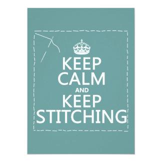 """Guarde la calma y guarde el coser (todos los invitación 5.5"""" x 7.5"""""""