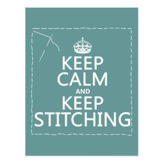 Guarde la calma y guarde el coser (todos los postal