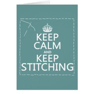 Guarde la calma y guarde el coser (todos los tarjeta de felicitación