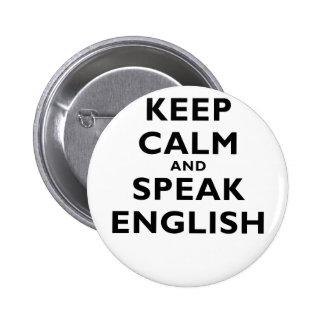 Guarde la calma y hable inglés pins