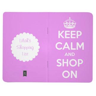 Guarde la calma y haga compras en el diario cuaderno grapado