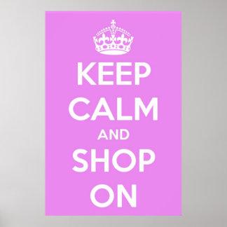 Guarde la calma y haga compras en el poster rosado