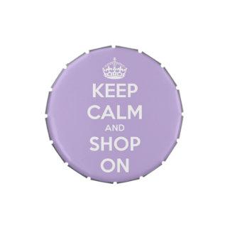 Guarde la calma y haga compras en la lata del cara jarrones de dulces