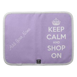 Guarde la calma y haga compras en la lavanda planificador