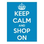Guarde la calma y haga compras en la postal azul