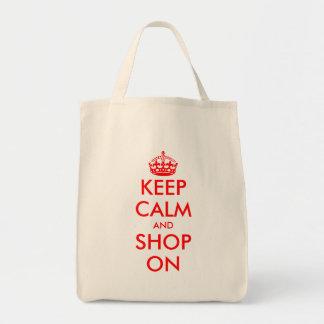 Guarde la calma y haga compras en plantilla adapta bolsa lienzo