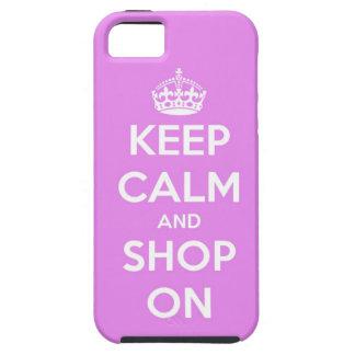 Guarde la calma y haga compras en rosa iPhone 5 coberturas