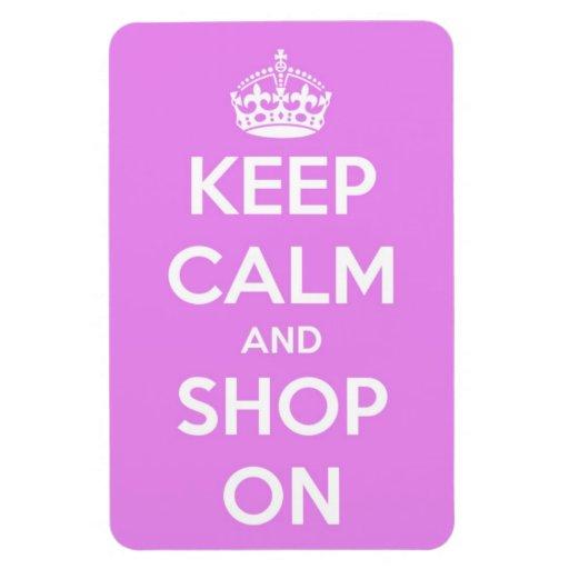 Guarde la calma y haga compras en rosa imanes de vinilo