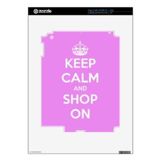 Guarde la calma y haga compras en rosa iPad 2 calcomanía