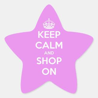 Guarde la calma y haga compras en rosa colcomanias forma de estrellaes personalizadas