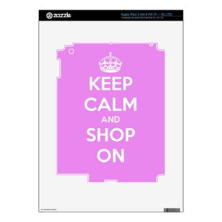 Guarde la calma y haga compras en rosa pegatina skin para iPad 3