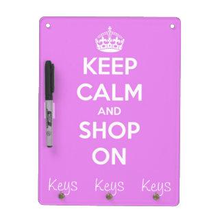 Guarde la calma y haga compras en rosa pizarra