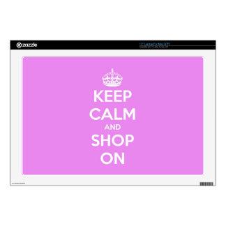 Guarde la calma y haga compras en rosa portátil skins