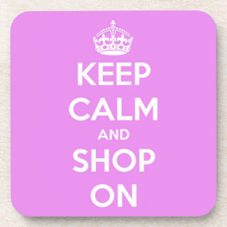 Guarde la calma y haga compras en rosa posavasos de bebida