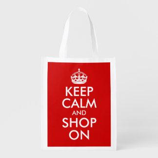 Guarde la calma y haga compras encendido bolsa para la compra