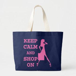 Guarde la calma y haga compras encendido bolsa tela grande