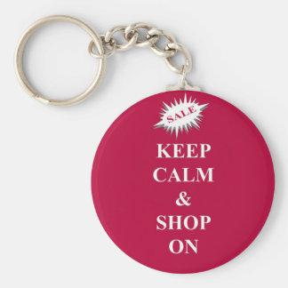 guarde la calma y haga compras encendido llavero personalizado