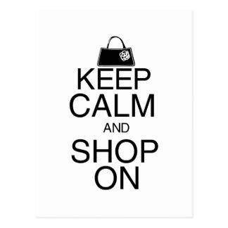 Guarde la calma y haga compras encendido postal