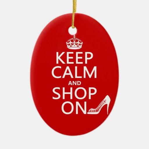 Guarde la calma y haga compras encendido - todos adorno ovalado de cerámica