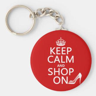 Guarde la calma y haga compras encendido - todos l llavero