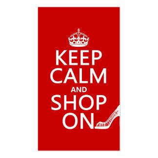 Guarde la calma y haga compras encendido - todos l tarjetas de visita