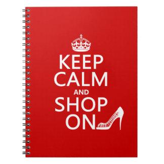 Guarde la calma y haga compras encendido - todos spiral notebook