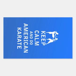 Guarde la calma y haga el karate americano pegatina rectangular