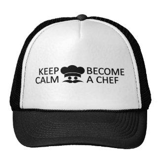 Guarde la calma y haga gorras de un cocinero