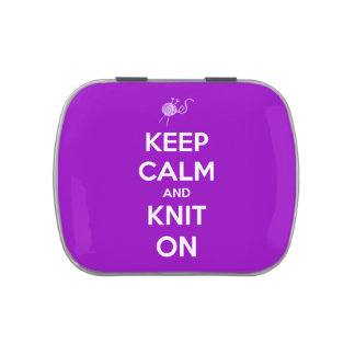Guarde la calma y haga punto en recargable púrpura jarrones de dulces