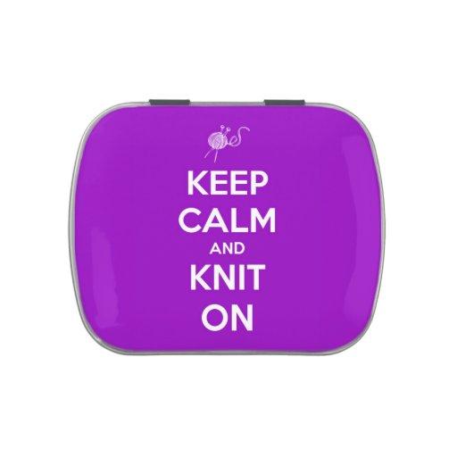 Guarde la calma y haga punto en recargable púrpura frascos de dulces