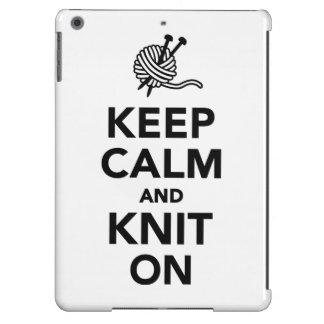 Guarde la calma y haga punto encendido funda para iPad air