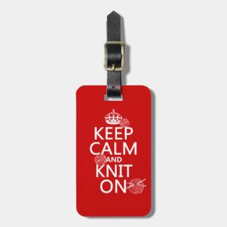Guarde la calma y haga punto encendido - todos los etiqueta para equipaje