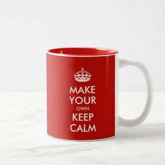 Guarde la calma y haga sus los propios taza de dos tonos