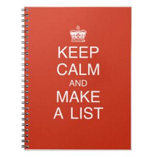 Guarde la calma y haga un cuaderno de la lista