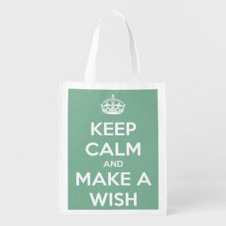 Guarde la calma y haga un deseo el trullo suave bolsas reutilizables