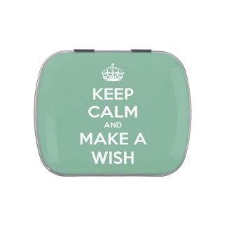 Guarde la calma y haga un deseo el trullo suave la jarrones de caramelos