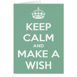 Guarde la calma y haga un deseo el trullo suave tarjeta de felicitación