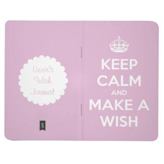 Guarde la calma y haga un rosa del deseo personali cuaderno grapado