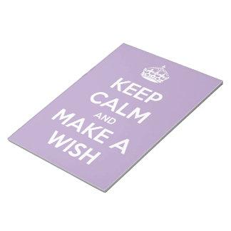 Guarde la calma y haga una lavanda del deseo la li bloc de notas