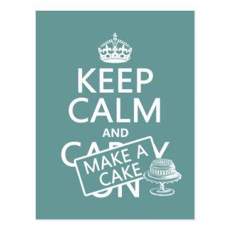 Guarde la calma y haga una torta (los colores del postal