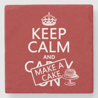 Guarde la calma y haga una torta posavasos de piedra