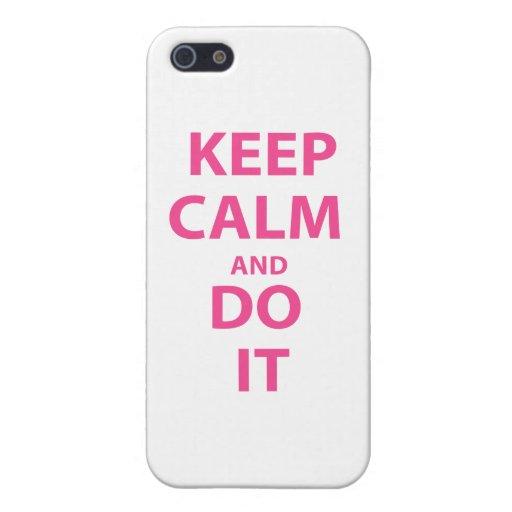 Guarde la calma y hágala iPhone 5 coberturas