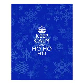 """Guarde la calma y Ho Ho Ho en los copos de nieve Folleto 4.5"""" X 5.6"""""""