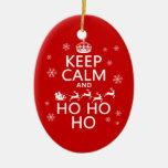 Guarde la calma y Ho Ho Ho - navidad/Santa Ornamentos De Navidad
