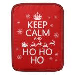 Guarde la calma y Ho Ho Ho - navidad/Santa Mangas De iPad
